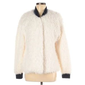Socialite ivory faux fur open jacket